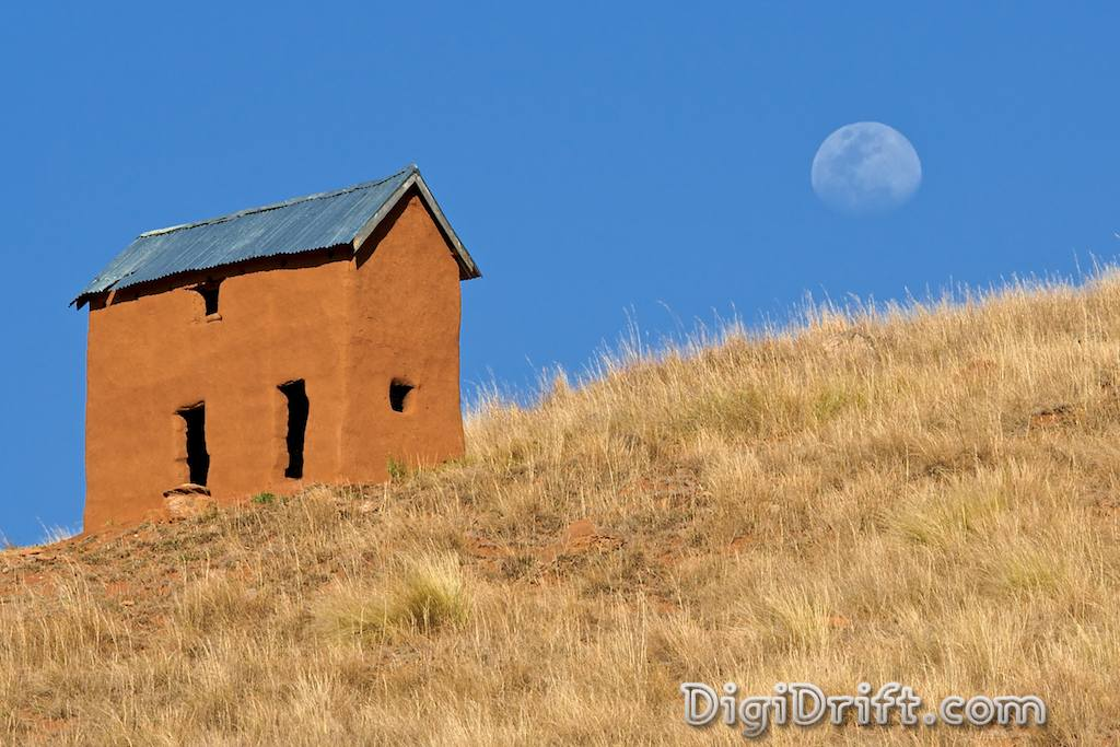 Madagascar - House and the afternoon moon