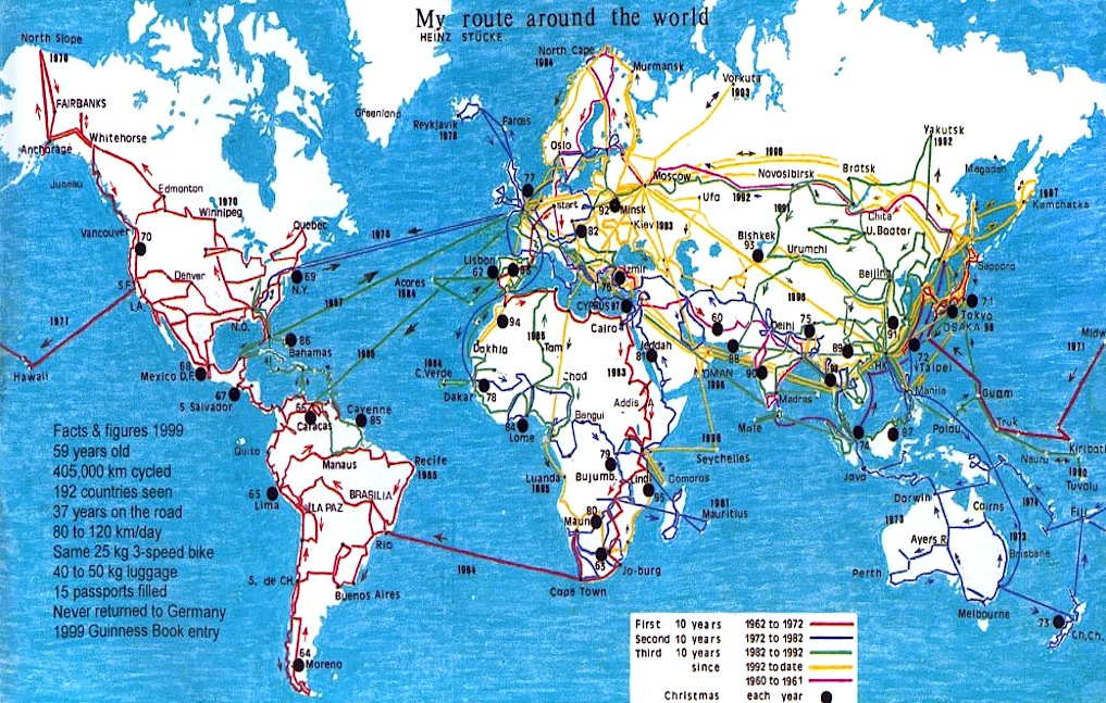 A map of Heinz Stucke's world travels