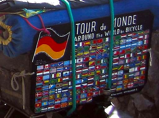 The rear of Heinz's bike with hand painted flags of countries visited.